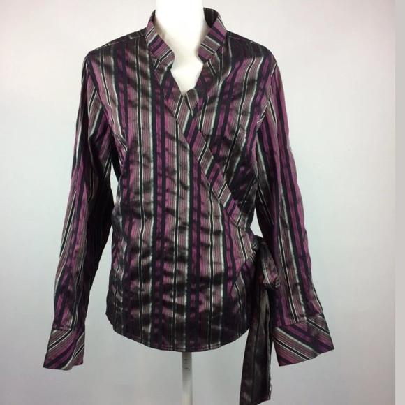 863171852bad Lane Bryant Tops - Lane Bryant Striped Wrap Top Plus Size 14 16
